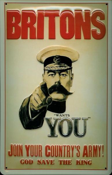 Blechschild Nostalgieschild Britons wants YOU Army Rekrutierung