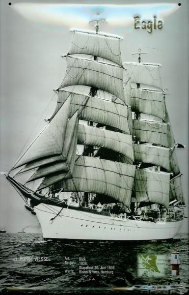 Blechschild Eagle Segelschulschiff US Coastguard Schiff Schild Nostalgieschild