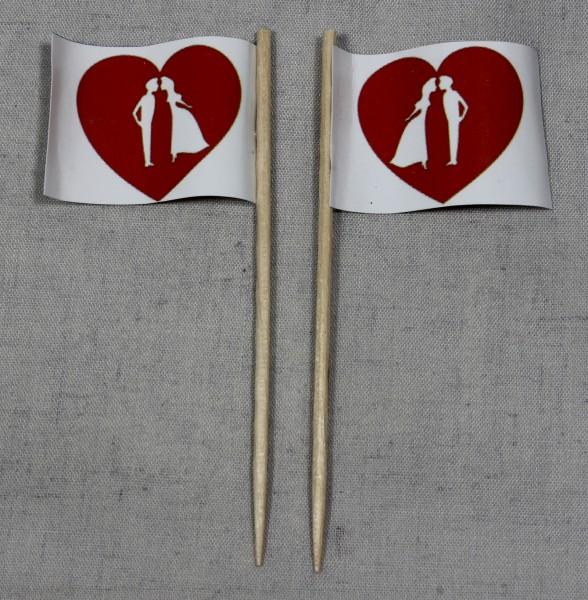 Party-Picker Flagge Hochzeit (4) Brautpaar Herz Papierfähnchen in Spitzenqualität 50 Stück Beutel