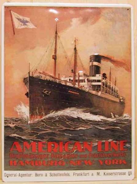 Blechschild American Line. Hamburg - New York Dampfer Schiff retro Schild Nostalgieschild