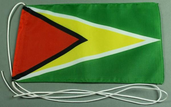 Tischflagge Guyana 25x15 cm optional mit Holz- oder Chromständer Tischfahne Tischfähnchen