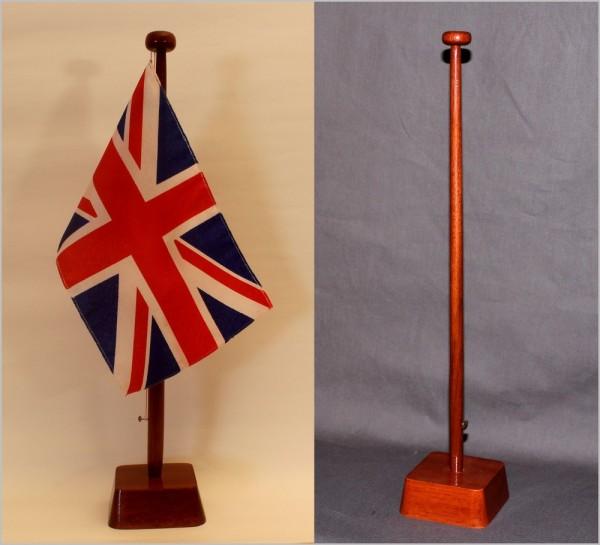 Tischflaggenständer 1-fach Holz Mahagoni - farben Profiqualität für 15x25cm Tischflaggen