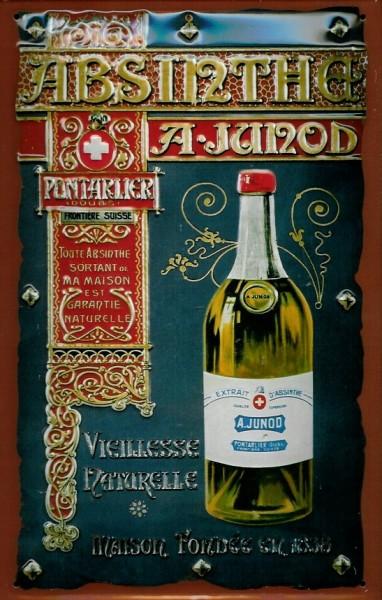Blechschild Absinthe A. Junod Absinth Schild nostalgisches Reklameschild
