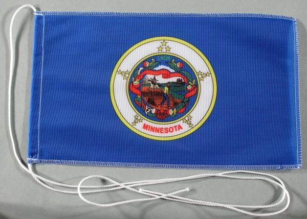 Tischflagge Minnesota USA Bundesstaat US State 25x15 cm optional mit Holz- oder Chromständer Tischfa