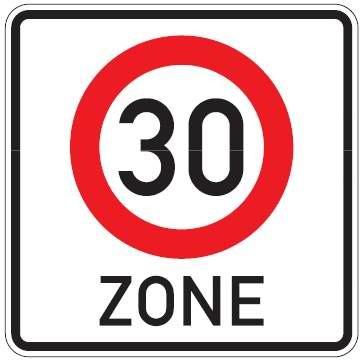 Verkehrsschild / Verkehrszeichen Tempo 30 Zone 600 mm Aluminium reflektierend Typ 1 VZ 274.1/50 (Au