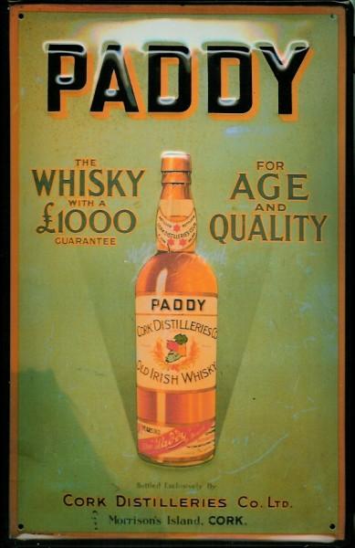 Blechschild Paddy Irish Whisky (1) Age Quality Cork Distilleries Irland Schild Werbeschild