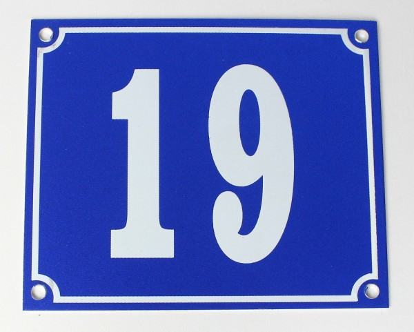 Hausnummernschild Aluminium Aluschild 1 mm Stärke Alu Schild Nr. 19 blau
