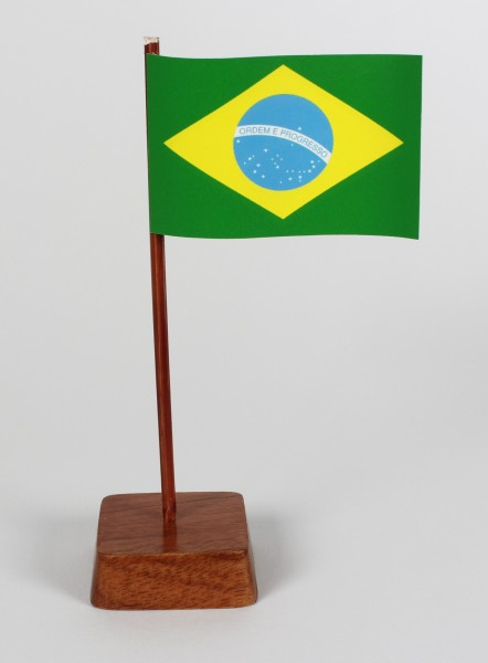 Mini Tischflagge Brasilien Höhe 13 cm Tischfähnchen