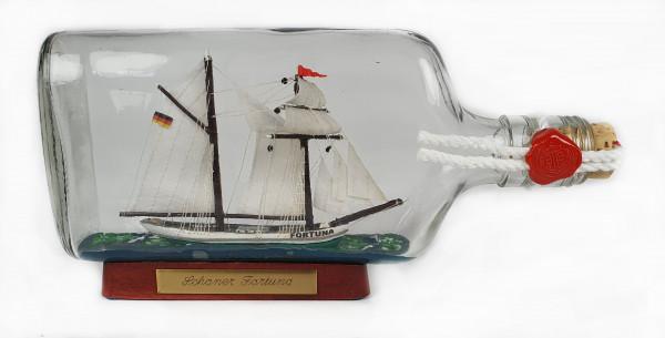 Topsegel - Schoner FORTUNA Buddelschiff Flachmann 0,375 Liter ca. 21x9 cm