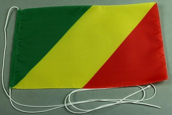 Tischflagge Kongo Brazzaville 25x15 cm optional mit Holz- oder Chromständer Tischfahne Tischfähnchen