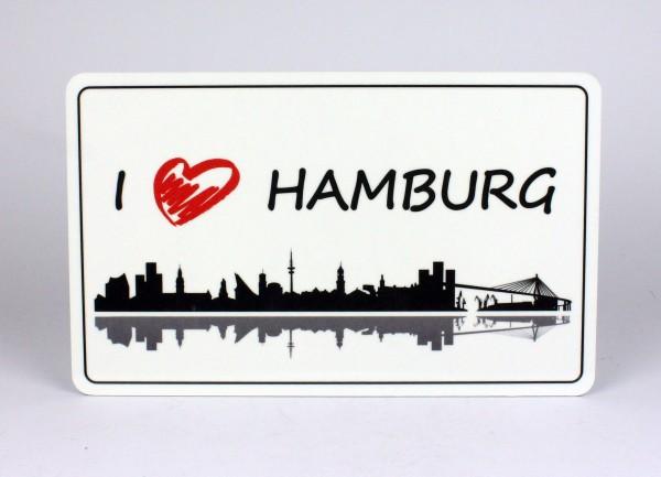 Frühstücksbrett I love Hamburg weiss Brettchen Frühstück Brett 23,5 x 14,3 x 0,2 cm
