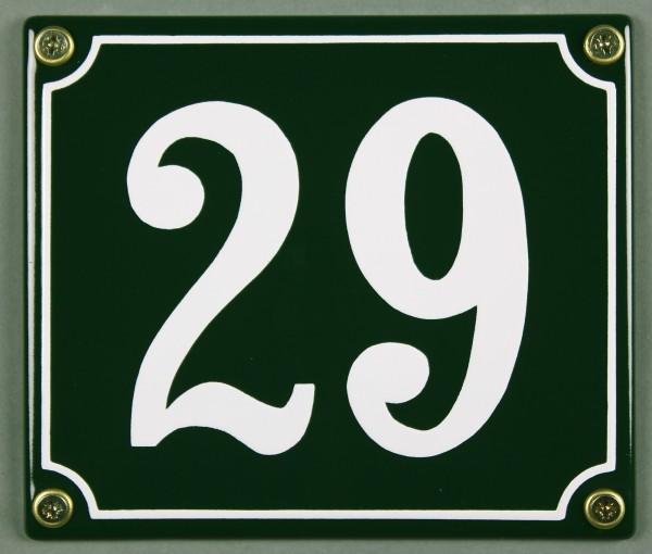 Hausnummernschild 29 grün 12x14 cm sofort lieferbar Schild Emaille Hausnummer Haus Nummer Zahl Ziffe
