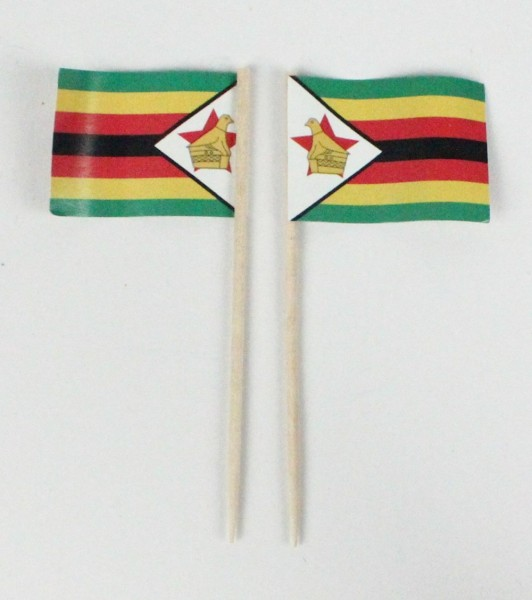 Party-Picker Flagge Simbabwe Afrika Papierfähnchen in Spitzenqualität 50 Stück Beutel