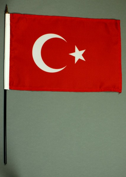 Tischflagge Türkei 20x30 cm optional mit Tischflaggenständer aus Mahagoni Holz