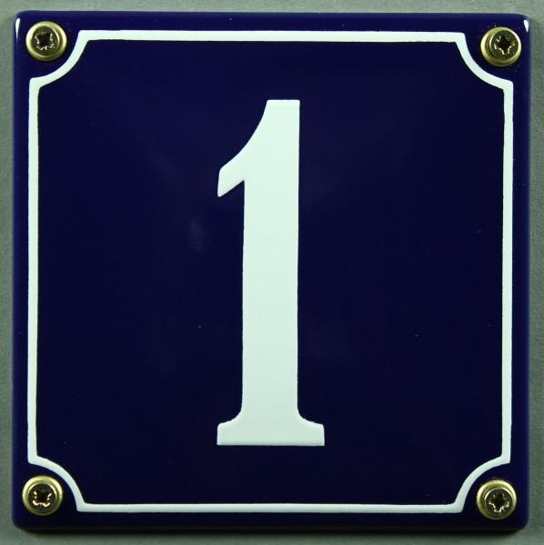 Hausnummernschild 1 blau - weiß 12x12 cm sofort lieferbar Schild Emaille Hausnummer Haus Nummer Zahl