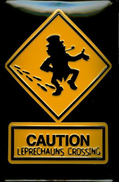 Blechschild CAUTION Leprechauns Crossing retro Schild Metallschild
