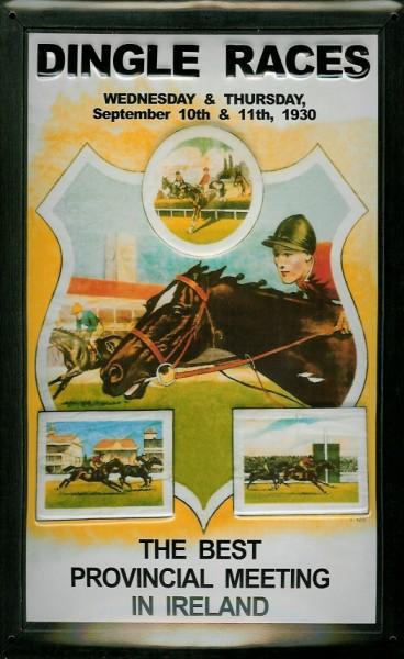 Blechschild Dingle Races Irland Pferderennen Pferd Blech Schild Souvenir Andenken