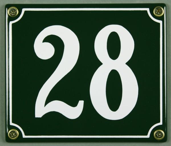 Hausnummernschild 28 grün 12x14 cm sofort lieferbar Schild Emaille Hausnummer Haus Nummer Zahl Ziffe