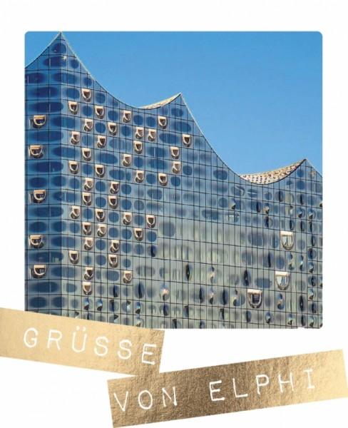 Postkarte Grüße von Elphi Hamburg Goldfolie