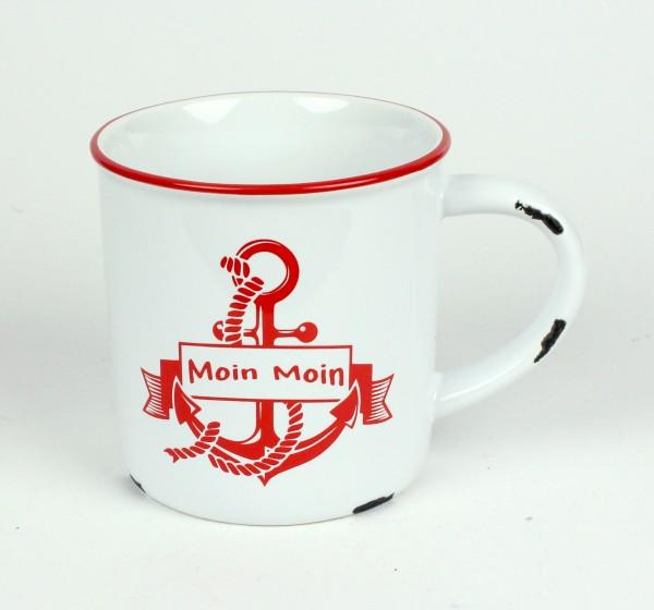 """Moin Moin Anker Kaffeebecher Kaffeepott weiß ROT """"Rusty"""" Emaille-Optik Tasse Becher"""