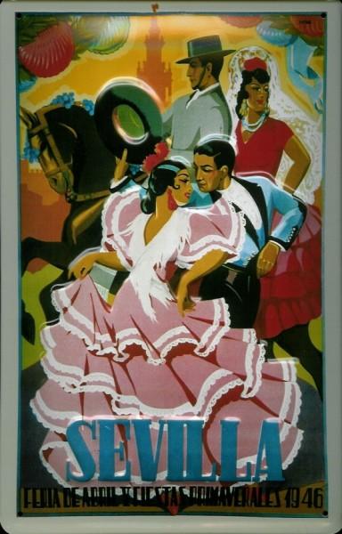 Blechschild Nostalgieschild Sevilla Spanien Tanzpaar mit Pferd