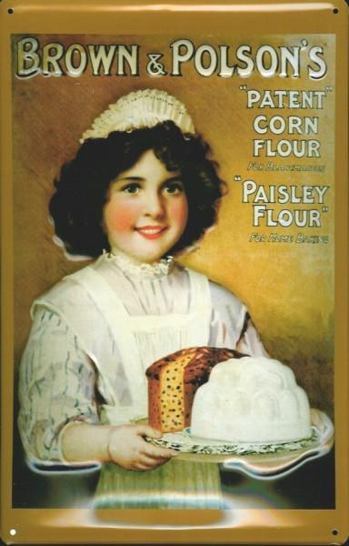 Blechschild Brown & Polson's Corn Paisley Flour Mais Stärke Schild