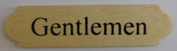 Eckiges Holz - Türschild Gentlemen 3x12 cm helles Holzschild