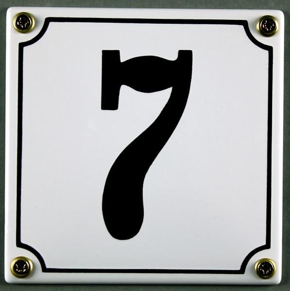 Hausnummernschild 7 weiß 12x12 cm sofort lieferbar Schild Emaille Hausnummer Haus Nummer Zahl Ziffer