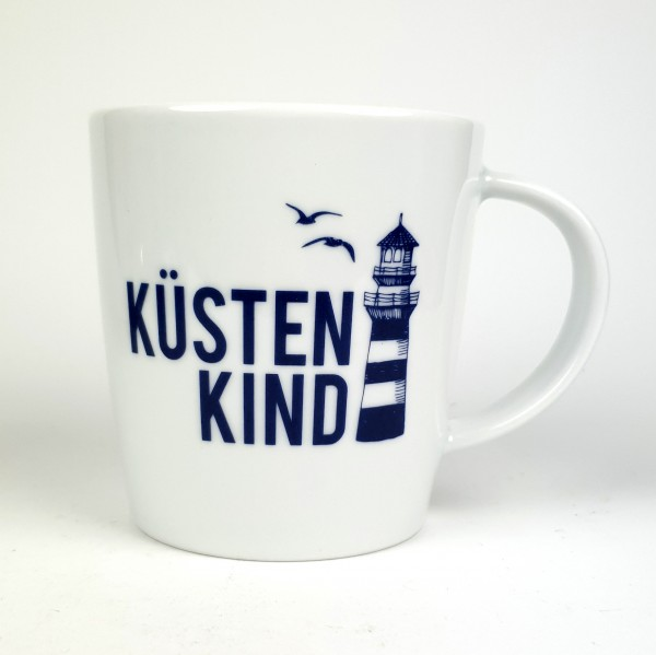 Porzellanbecher groß Küstenkind Leuchtturm blau weiß Becher Kaffeebecher Teebecher