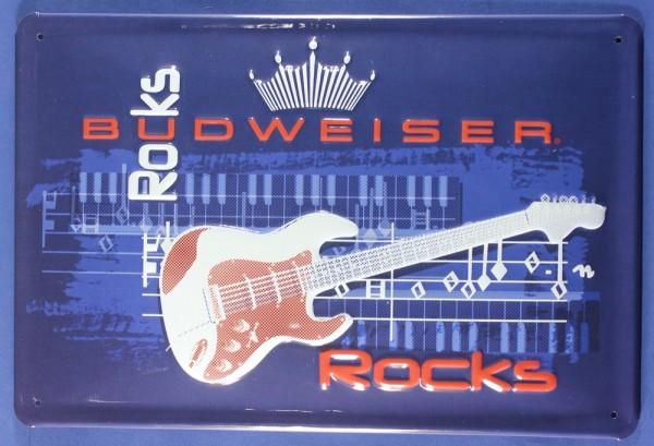Blechschild Budweiser Rocks Gitarre Beer Bier Schild Kneipenschild