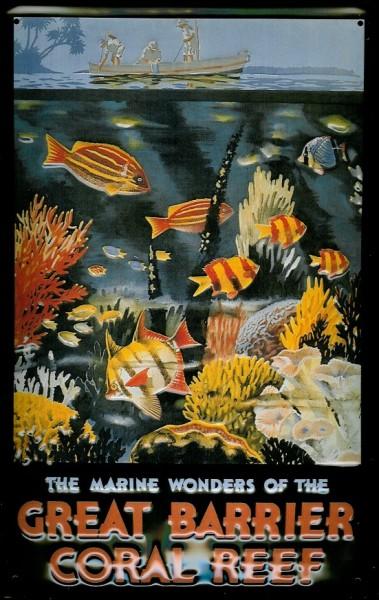 Blechschild Nostalgieschild Great Barrier Reef Australien Schild Riff Australia Korallenriff