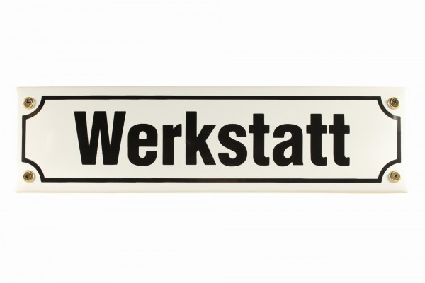 Strassenschild Werkstatt 30x8 cm Emaille Schild Türschild Emailleschild wetterfest
