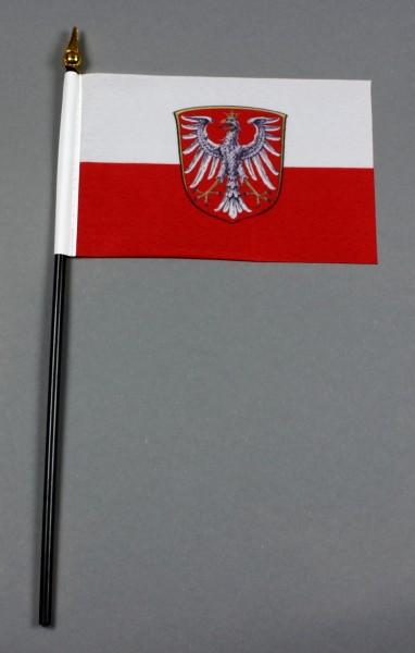 Kleine Tischflagge Frankfurt 10x15 cm optional mit Tischfähnchenständer