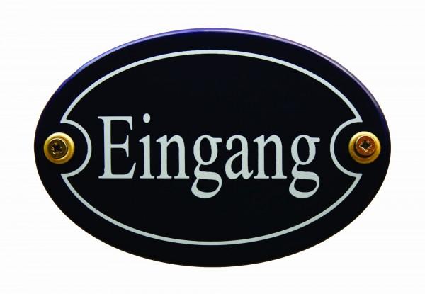 Emaille Türschild Eingang blau oval Schild Emailleschild Metallschild Blechschild
