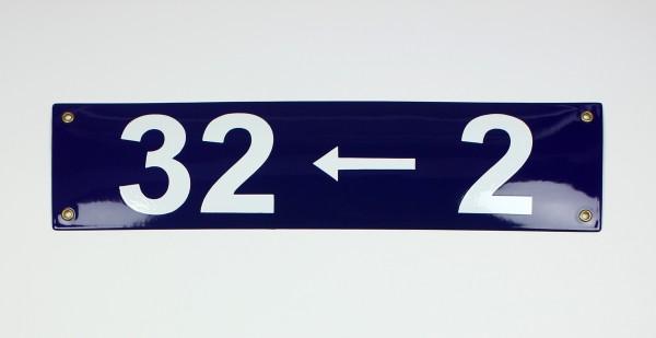 32 <-- 2 Pfeil links blau Blockschrift 40x10 cm sofort lieferbar Schild Emaille Hausnummer