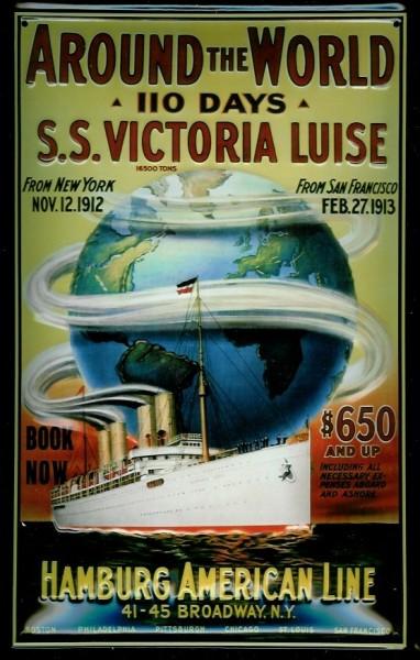 Blechschild Hapag Kreuzfahrt Hamburg American Line Around the world Dampfer Schiff Schild Nostalgies