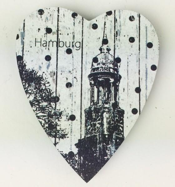 Herz Magnet Holz Michel Hamburg Herzmagnet Holzmagnet Hamburger Michaeliskirche