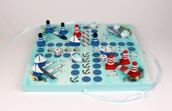 "Maritimes Würfelspiel Brettspiel ""BLAU"" 2-4 Personen Gesellschaftsspiel Holz Leuchtturm Segelschiff"