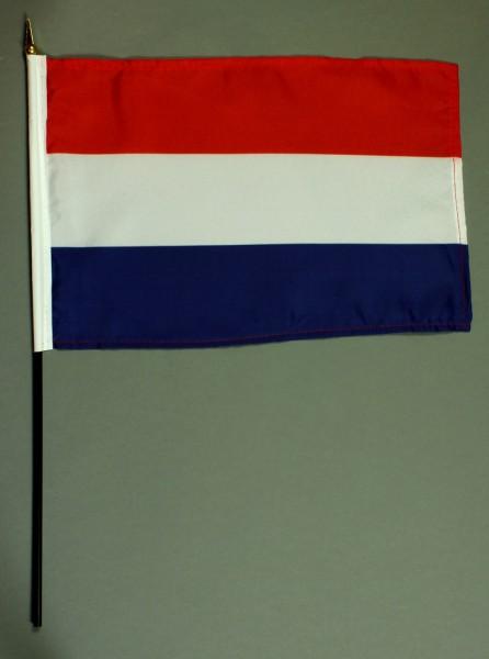 Tischflagge Niederlande Holland 20x30 cm optional mit Tischflaggenständer aus Mahagoni Holz