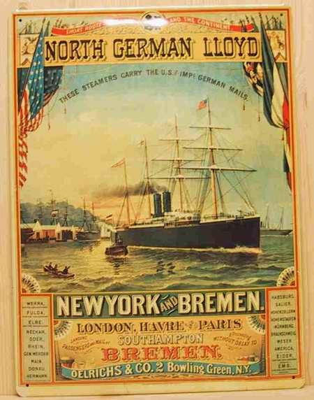 Blechschild North German Lloyd New York and Bremen Dampfer Schiff Schild Nostalgieschild