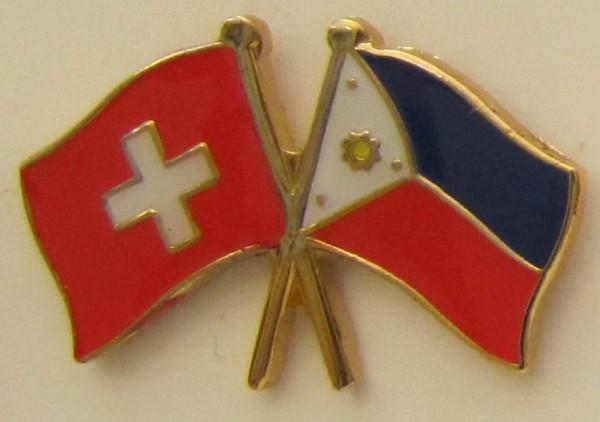 Schweiz / Philippinen Freundschafts Pin Anstecker Flagge Schweizerfahne Fahne Nationalflagge