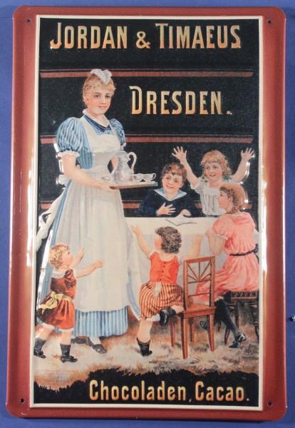 Blechschild Jordan Timaeus Dresden Schokolade Kakao Schild Nostalgieschild