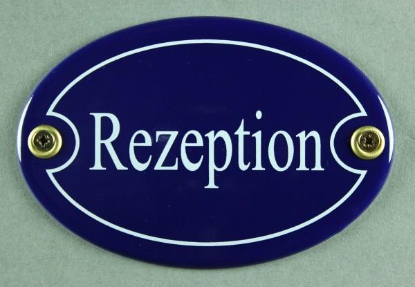 Emaille Türschild Rezeption blau oval Schild Emailleschild Metallschild Blechschild