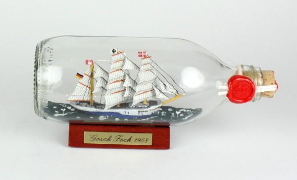 Gorch Fock runde Flasche 0,3 Liter Buddelschiff Flaschenschiff