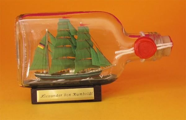 Alexander von Humboldt Buddelschiff Flachmann 0,1 Liter ca. 14x7 cm Flaschenschiff