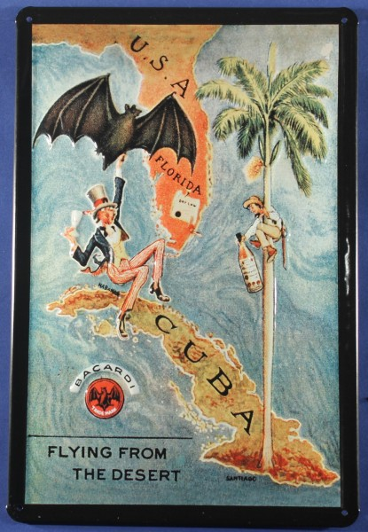 Blechschild Bacardi Kuba Flying from the desert Cuba Schild Nostalgie Werbeschild