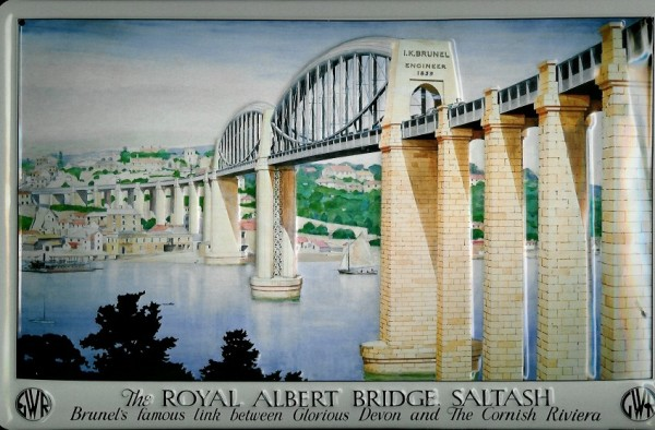 Blechschild Royal Albert Bridge Saltash Brücke Blech Schild Souvenir Andenken