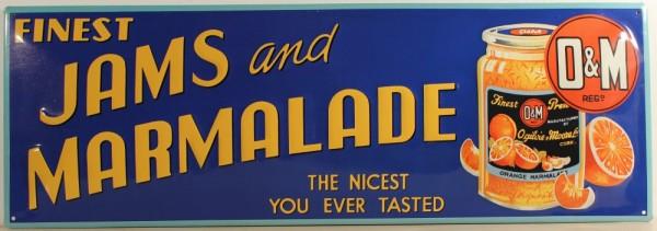 Blechschild Jams and Marmalade Orangen Marmelade Schild retro Werbeschild