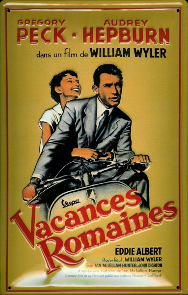 Blechschild Nostalgieschild Peck + Hepburn Filmplakat Vespa Vacances Romaines