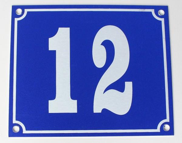 Hausnummernschild Aluminium Aluschild 1 mm Stärke Alu Schild Nr. 12 blau
